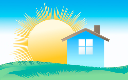 Illustration of house + sun